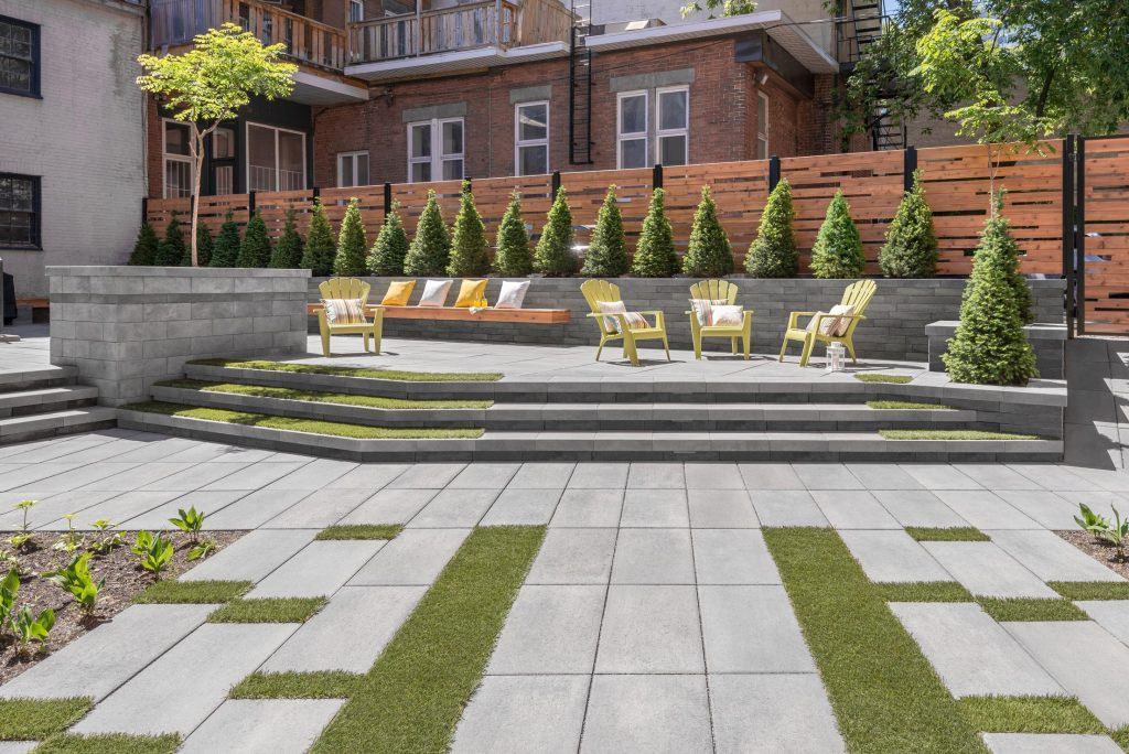 patio construite avec pavés